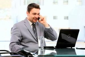 Life Insurance Agent Talking on Phone