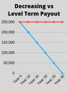 Decreasing vs level term life insurance payout